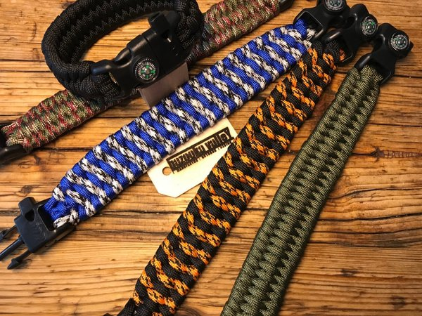 Paracord Armband - Bracelet XXL / Outdoor Tactical Survival / mit Kompass, Feuerstein & Pfeife