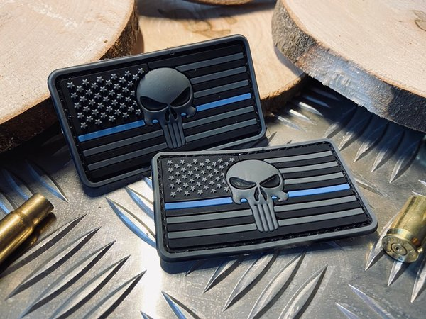 "PVC Rubber / Gummi Patch mit Klett - American Punisher ""Thin Blue Line"""