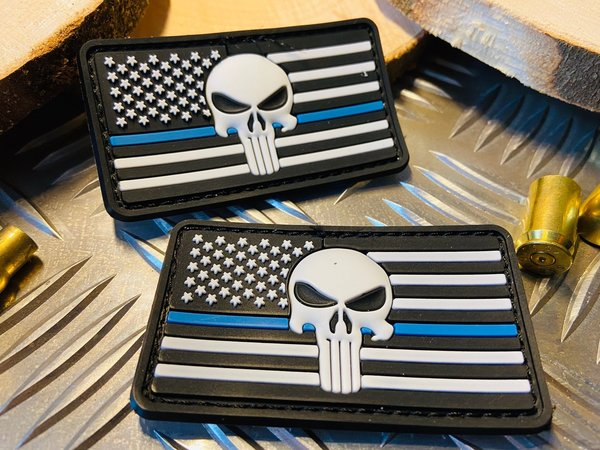 "PVC Rubber / Gummi Patch mit Klett - American Punisher ""Thin Blue Line"" Classic"